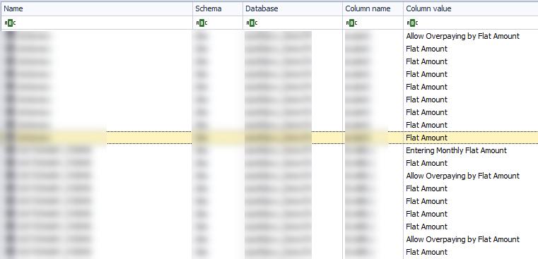 Apex SQL search results grid.