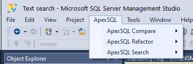 Apex SQL Search Menu