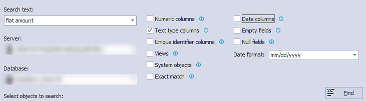 Apex SQL Search database values.